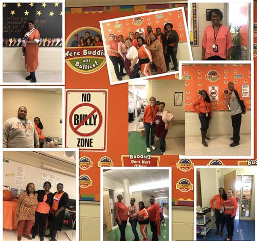 Staff wearing orange in a picture collage.
