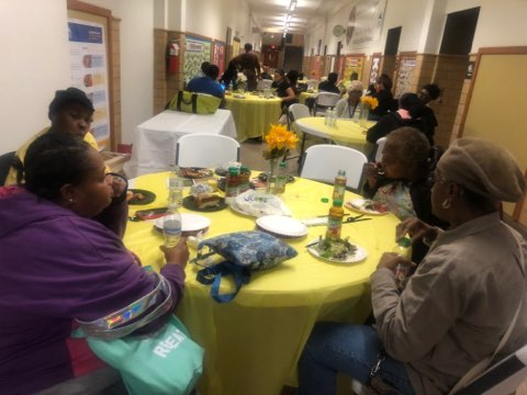 Adult Education West students and staff at the Family Hub dinner on October 24th, 2019.