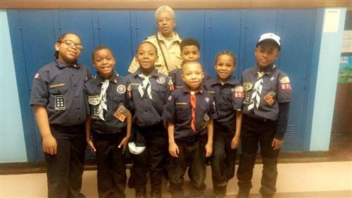 Boy Scouts posing for picture.