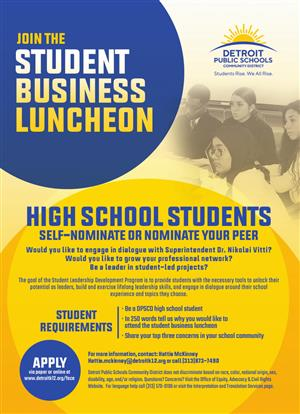 student business luncheon flyer