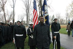NJROTC Cadets Standing in formation at the 2018 Veterans Day Ceremony at Elmwood Cemetery