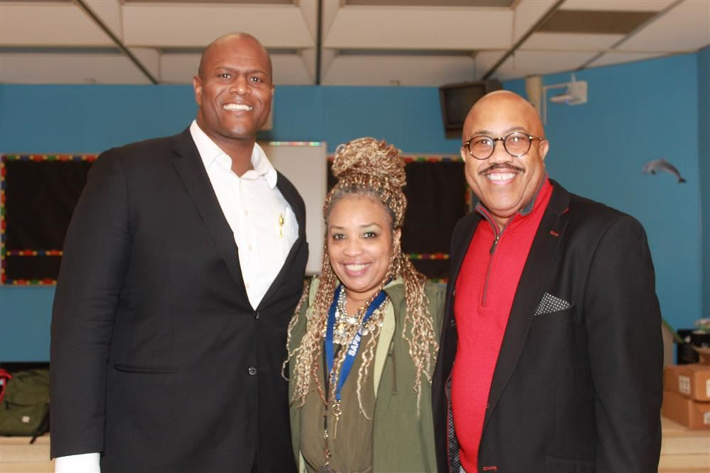 State Rep. Joe Tate, Asst. Principal Harris and Robert Jones pose for a picture.