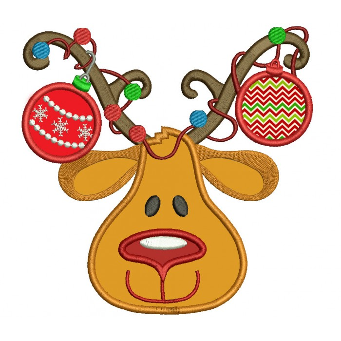 Picture of reindeer with ornaments on antlers
