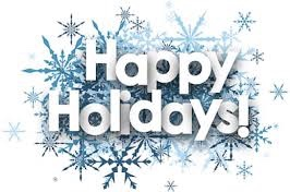 Happy Holidays with blue and white snowflake backgrounds