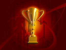 Gold trophy with red background