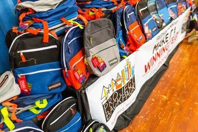 Many backpacks donated by Mike Morse
